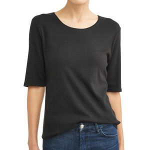 NEW TIME AND TRU WOMEN'S SCOOP NECK BLACK TEE 3X